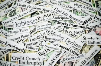 "Newspaper headlines filled with news about: economy despair, crisis, money worries and dark tones about recession, depression and job losses. In economics, the term [b]recession[/b] generally describes the reduction of a country's gross domestic product (GDP) for at least two quarters. The usual dictionary definition is ""a period of reduced economic activity"", a business cycle contraction. The United States-based National Bureau of Economic Research (NBER) defines economic recession as: ""a significant decline in [the] economic activity spread across the economy, lasting more than a few months, normally visible in real GDP growth, real personal income, employment (non-farm payrolls), industrial production, and wholesale-retail sales.""  Image is captured in 12 bit RAW and processed in Adobe RGB color space. [File:XXX; Lot:34]"